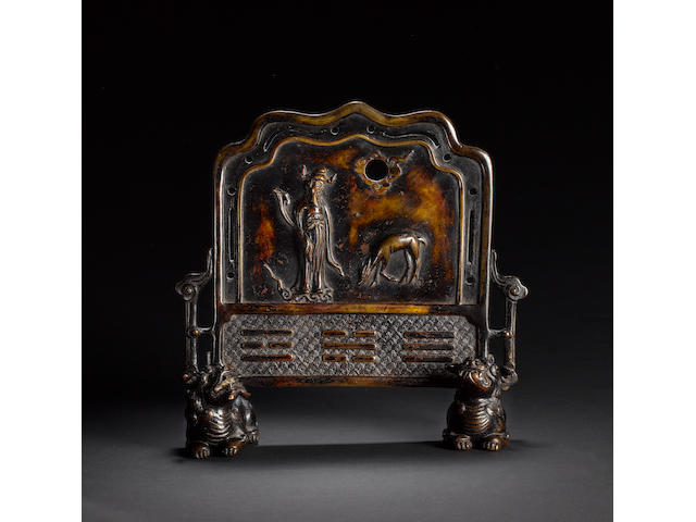 An interesting bronze table screen with trigrams for Heaven, Light and Water Ming/Qing Dynasty