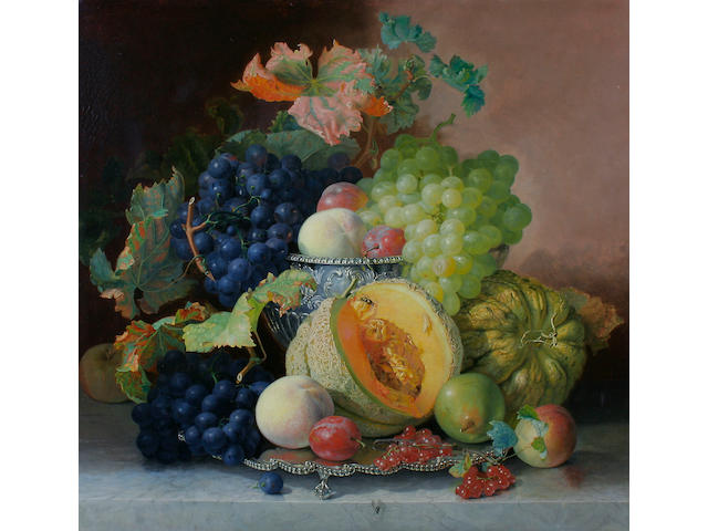 Eloise Harriet Stannard (British, circa 1828-1915) Still life of grapes, melon, pears plums and peaches in a silver bowl,
