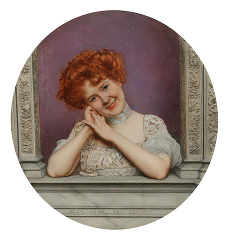 Jan van Beers (Belgian, 1852-1927) Portrait of Emilie Grigsby  16.5cm (6 1/2in) diameter