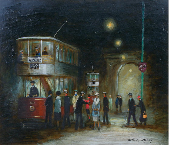 Arthur Delaney (British, 1927-1987) Manchester tram scene at night time, possibly outside the porch of Manchester Town Hall,