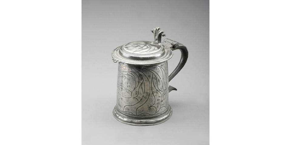 A William and Mary flat lid wriggle-work tankard, circa 1690