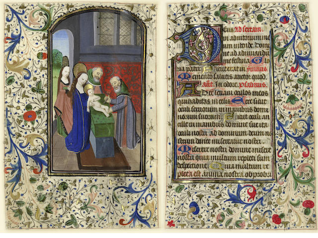 ILLUMINATED MANUSCRIPT LEAF Leaf from a Book of Hours, with miniature of the circumcision of Christ