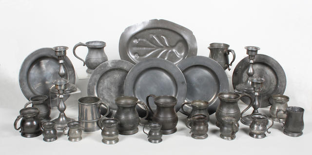 A quantity of 18th/19th century patinated pewter