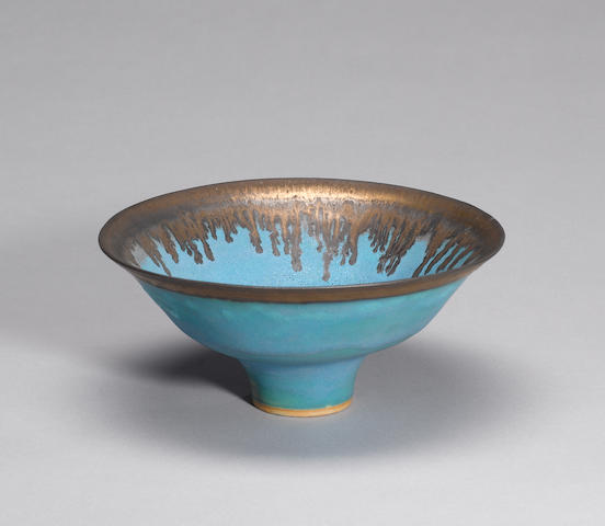 Dame Lucie Rie a footed Bowl, circa 1980 Diameter 23cm (9in.)