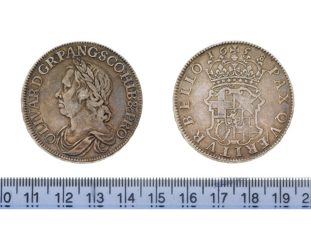 Oliver Cromwell, Crown, 1658/7, 29.9g, laureate and draped bust left,