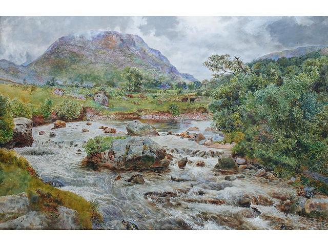 William Davis (British, 1812-1873) A rocky river landscape,