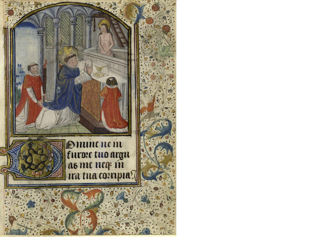 ILLUMINATED MANUSCRIPT LEAF Leaf from a Book of Hours, with miniature of a Saint having a vision of