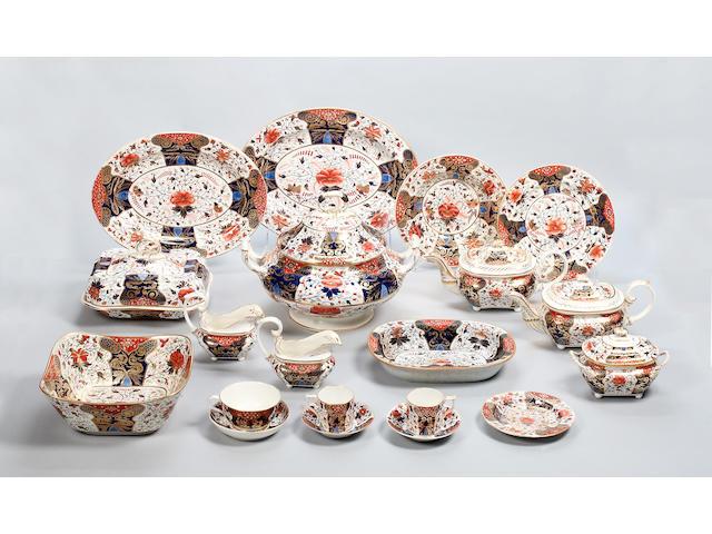 A 19th century Derby Japan pattern part tea/dinner service,