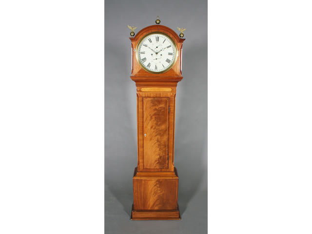 A small early/mid-19th century Scottish figured mahogany and line inlaid longcase clock
