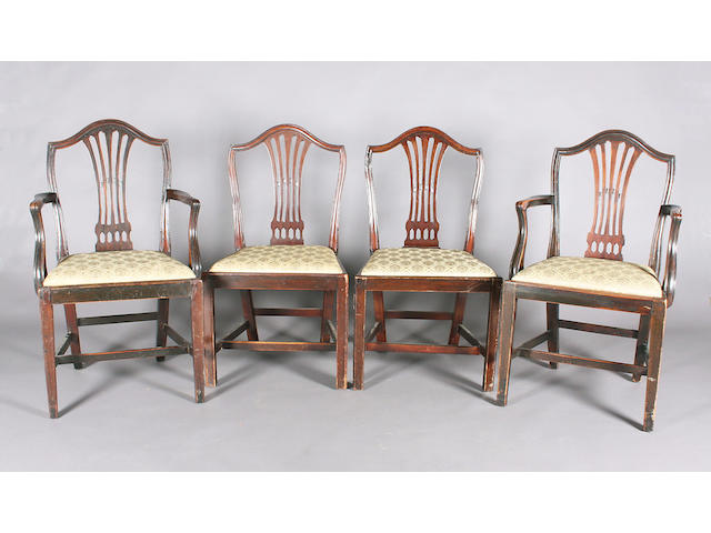 A set of six George III provincial mahogany moulded frame standard chairs
