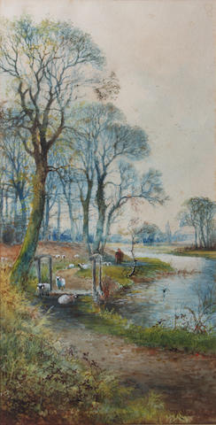 Arthur Willett (British, 1857-1918) Drover and sheep on a riverside path 52.6 x 24cm.