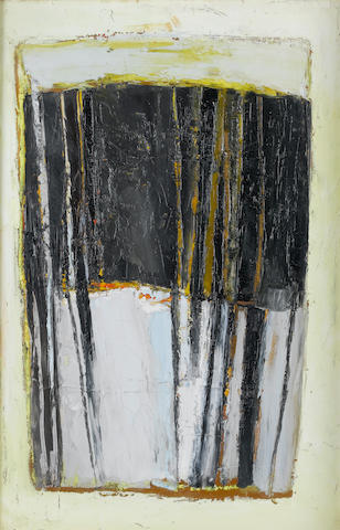Paul Feiler (British, born 1918) Gandria, Black and Lemon 61 x 40.6 cm. (24 x 16 in.)