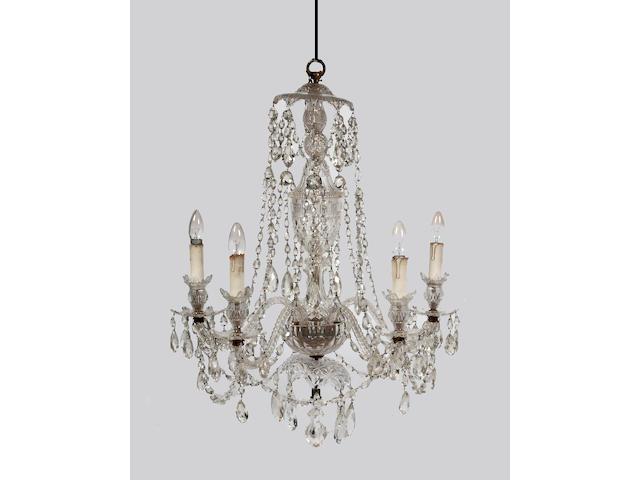 A cut glass chandelier,