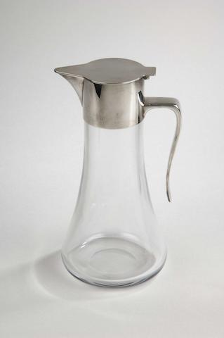 A modern silver mounted clear glass claret jug RW, London 1988,