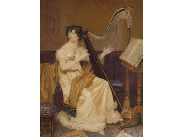 Samuel John Stump (British, 1778-1863) Portrait of a lady at her harp