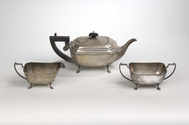 An art deco style three piece tea service A.S, Birmingham 1933,