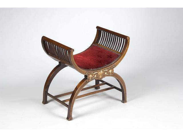 An Edwardian mahogany and boxwood inlaid X-frame stool