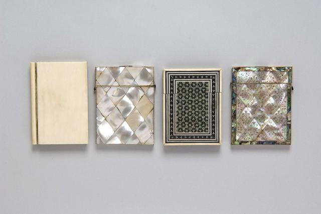 Two Victorian mother of pearl card cases