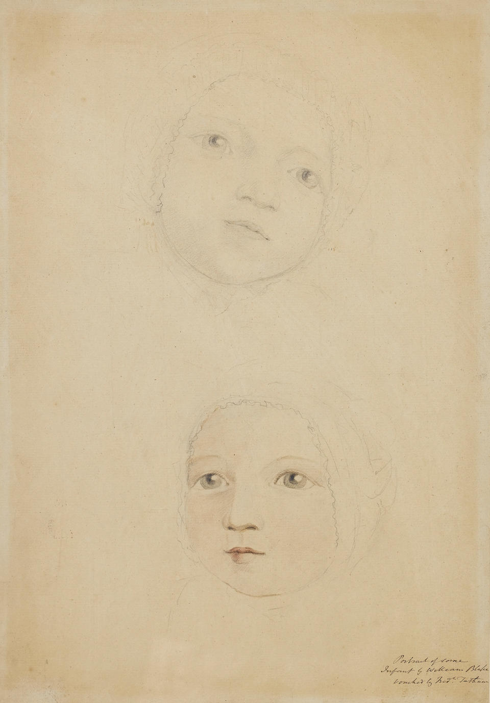 William Blake (British, 1757-1827) Two studies of a baby's head, possibly a member of the Linnell family