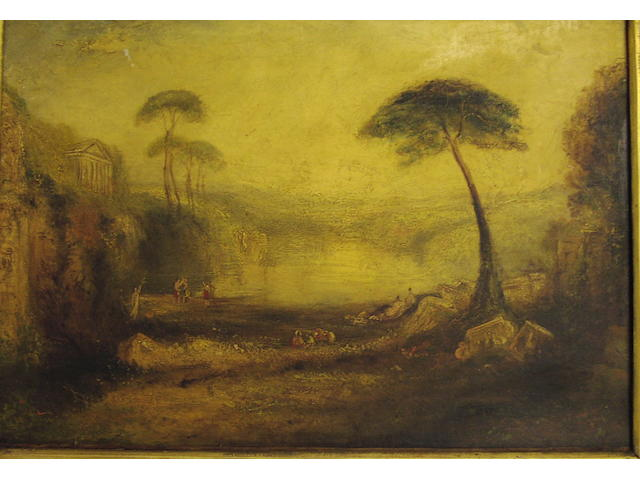 English School (19th Century) Classical landscape, 34 x 49cm.
