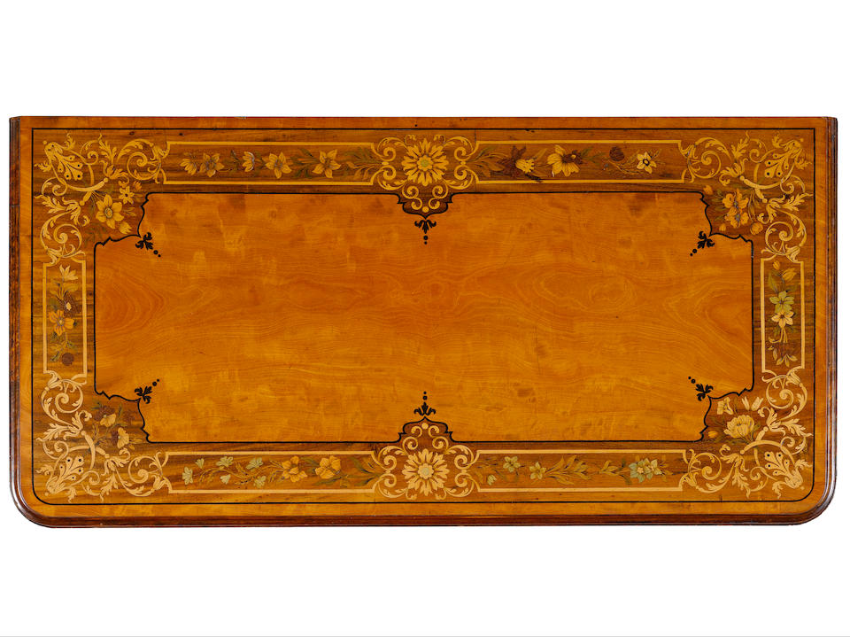 A fine pair of early Victorian satinwood, walnut, sycamore marquetry  and parcel gilt Card Tables