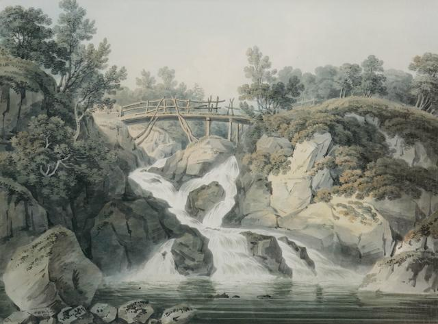 H.W. Williams (Scottish 1773 - 1829) The wooden bridge Rocky gorge