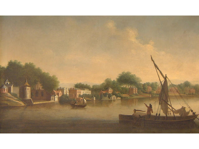 Follower of William Marlow (British, 1740-1813) Twickenham from the River