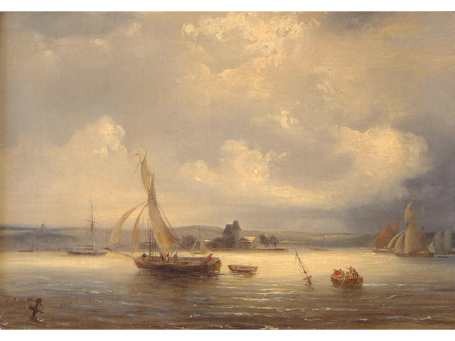 Frederick Calvert (British, born circa 1785-died circa 1844) Fishing Boats in an Estuary and Off the Needles (a pair)