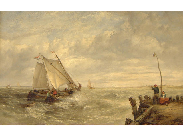 John James Wilson (British, 1818-1875) Barges off the Coast