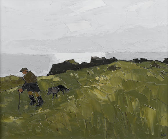 Sir Kyffin Williams, R.A. (British, 1918-2006) Farmer at Rhoscolyn, Anglesey 51 x 61 cm. (20 x 24 in