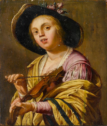 After Gerrit van Honthorst, 17th Century A Young woman (Phyllis) playing a violin unframed