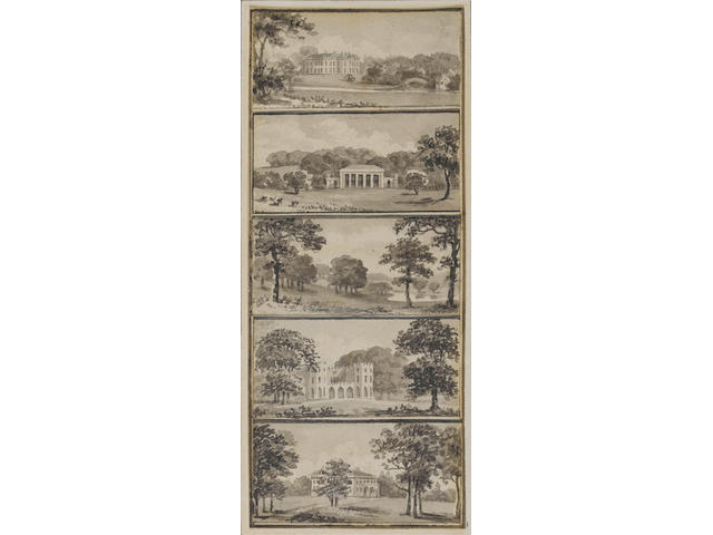 Humphrey Repton (British, 1752-1818) Ten views of English country houses on two sheets 14.5 x 6cm. (5 1/2 x 2 1/4in.); 15 x 6cm. (5 3/4 x 2 1/2in.) unframed ((22))