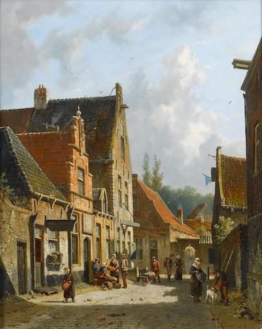 Adrianus Eversen (Dutch, 1818-1897) A dutch street scene