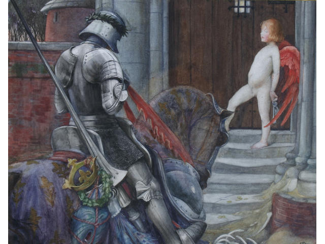 Eleanor Fortescue-Brickdale (British, 1871-1945) A knight and cupid before a castle door,