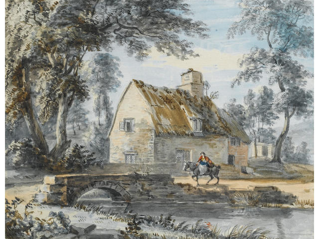 Paul Sandby, R.A. (British, 1730-1809) A traveller passing by a house