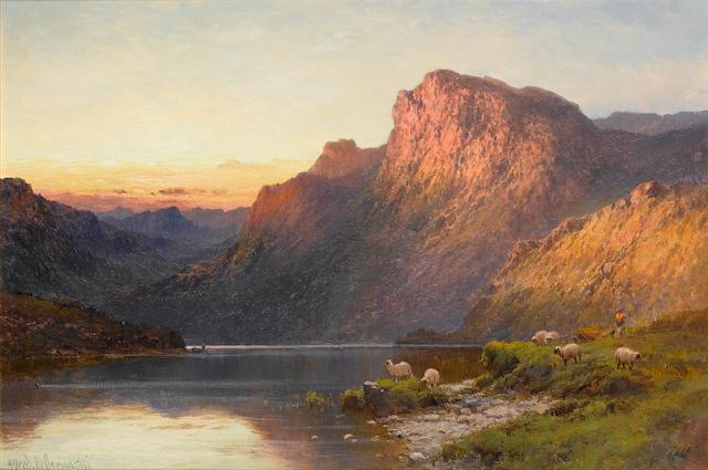 Alfred de Bréanski, RBA (British, 1852-1928) A Sutherlandshire lake at sunset; Loch Shin, Sutherlandshire ((2))