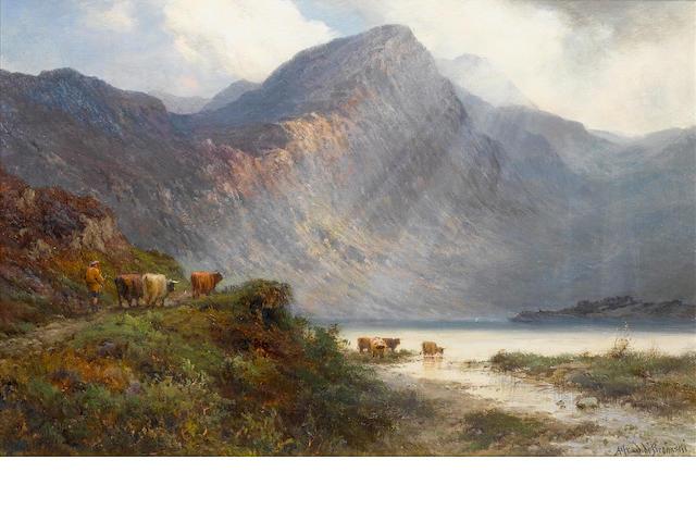 Alfred de Bréanski, RBA (British, 1852-1928) A Sutherlandshire lake at sunset; Loch Shin, Sutherland