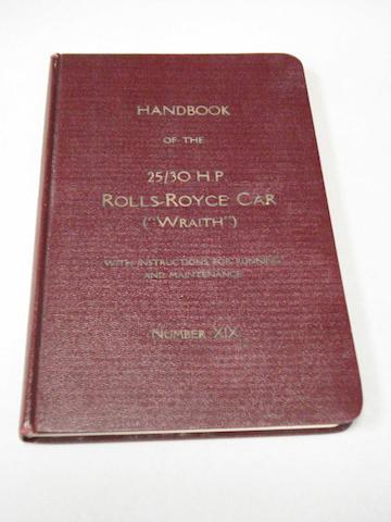 A Rolls-Royce Wraith 25/30 Hp handbook,