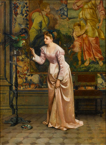 Martin Rico y Ortega (Spanish, 1833-1908) Elegant Lady with a cockatoo