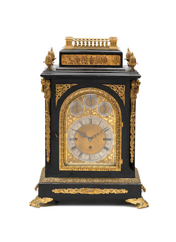 A late 19th century ebonised quarter chiming bracket clock Unsigned