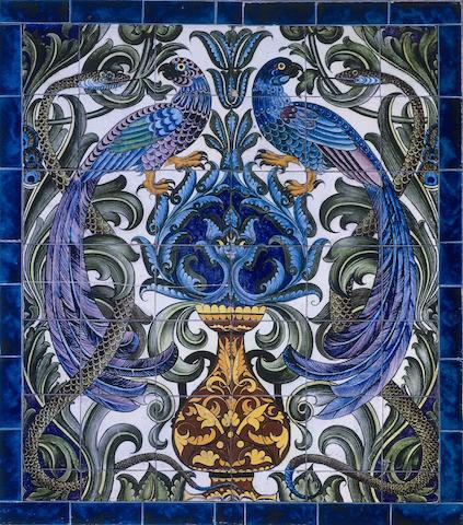William De Morgan A Magnificent Tile Panel with Birds and Serpents, circa 1885