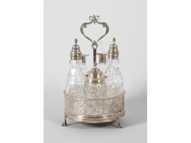 A George III silver cruet stand Maker's mark possibly 'TD', 1774,