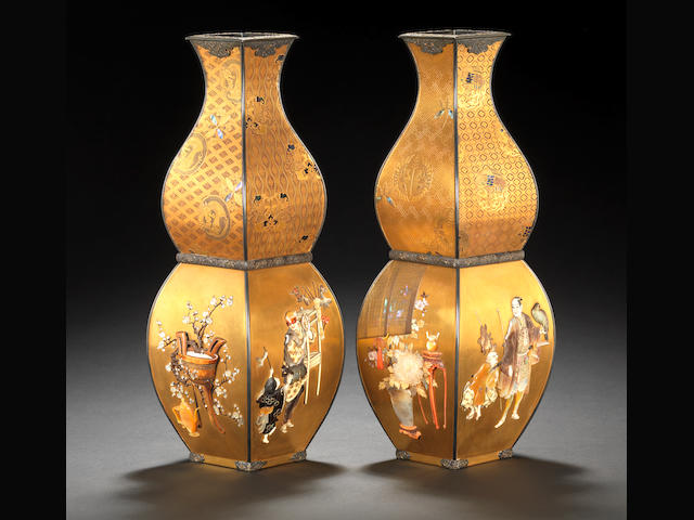 A fine pair of Shibayama-inlaid gold lacquer vases Meiji Period