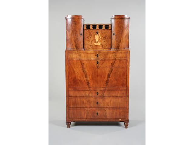 A 19th century mahogany and inlaid Biedermeier secretaire cabinet