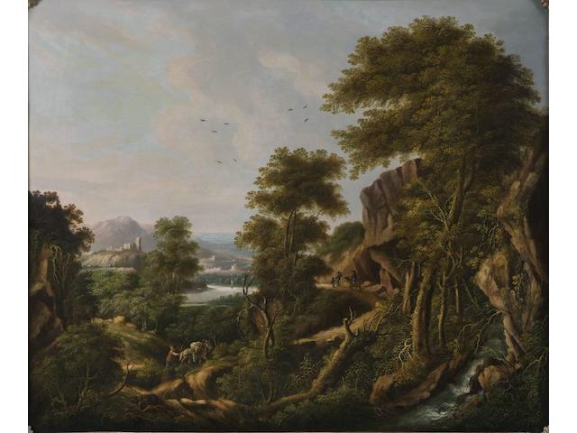 Early 19th Century German School Extensive wooded, mountainous landscape with figures, town in the distance, 62.5 x 72cm.
