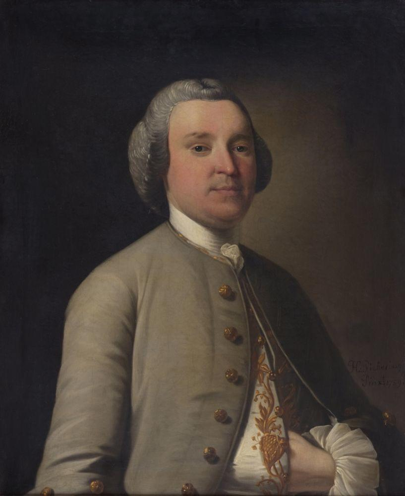 Henry Pickering (British) Portrait of John Feilden, half-length, wearing a green coat, his hand resting in his waistcoat, signed and dated 1759, together with the companion portrait of Elizabeth his wife, wearing a lace and flower-trimmed decollete dress, 75 x 62cm each.  ((a pair) (2))