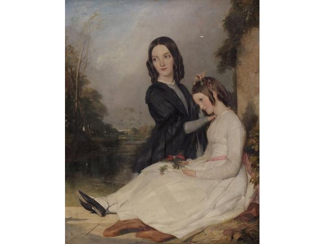 English School (C1850) Portrait of Louisa and Charlotte Feilden, by a pillar in parkland, 72 x 49cm.