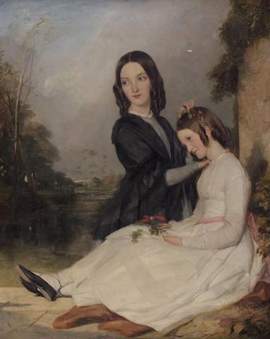 English School (C1850) Portrait of Louisa and Charlotte Feilden, by a pillar in parkland, 72 x 49cm.