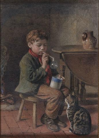 William Hemsley (British, 1819-1893) Boy blowing a bubble, being watched by a cat, 30.5 x 22cm.