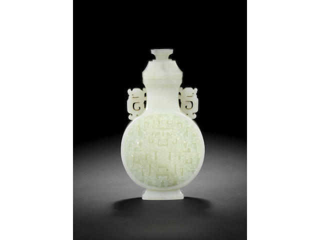 A very fine white jade vase and cover, bianhu Late Qianlong/Jiaqing